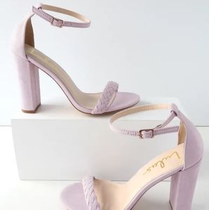 Taylor Braided Lilac Suede Ankle Strap Heels